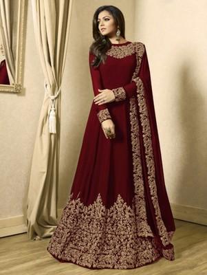 Dark Red Designer Georgette Anarkali Suit