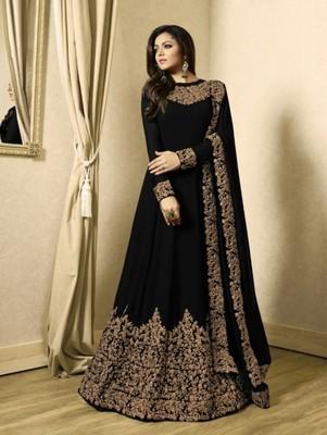 Black Designer Georgette Anarkali Suit