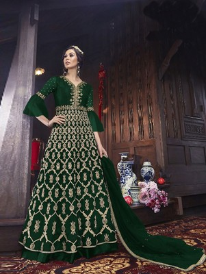 Dark Green Designer Net Anarkali Suit