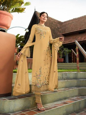 Light Yellow Party Wear Designer Straight Suit