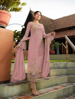 Light Pink Party Wear Designer Straight Suit