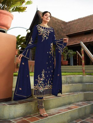 Dark Blue Party Wear Designer Straight Suit