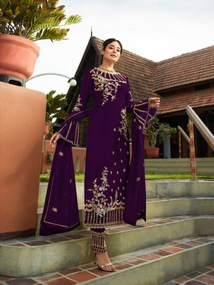 Purple Party Wear Designer Straight Suit