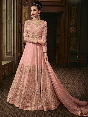 Light Pink Wedding Wear Anarkali Suit