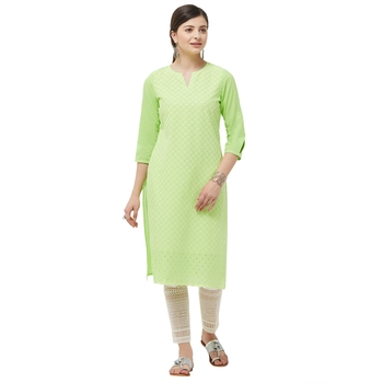 Lime embroidered cotton kurtas-and-kurtis