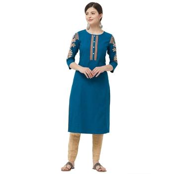 Teal embroidered cotton kurtas-and-kurtis