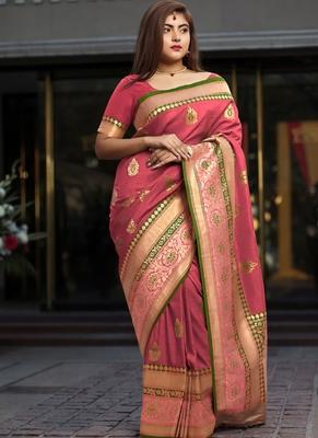 Peach Brasso Kanchipuram Silk Saree With Blouse