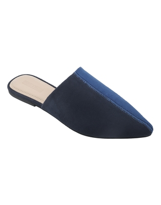 Trends & Trades Womens Two Tone Blue & Black Pointed Flat Mules Shoes