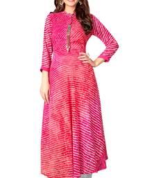 Blissta Pink Chiffon Full Stitched Laheria Print Anarkali Kurti
