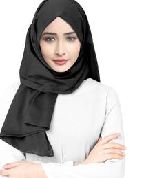 Justkartit Dark Grey Color Viscose Rayon Cotton Plain Hijab Scarf For Women