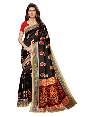 Black Printed Art Silk Sarees With Unstitched Blouse