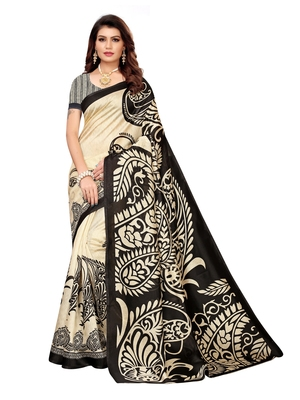 Beige Printed Art Silk Sarees with Unstitched Blouse