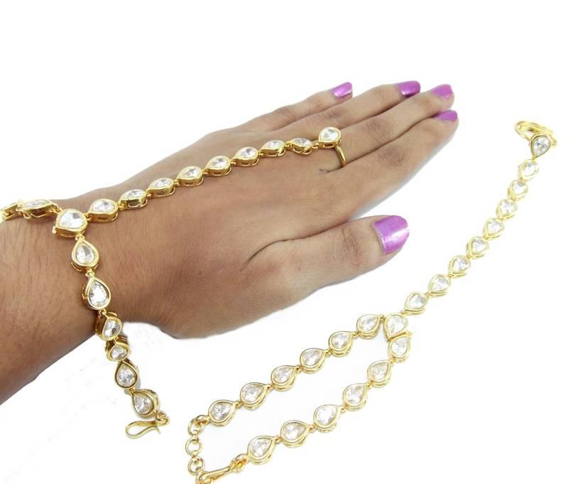 Buy stylish gold plated kundan slave bracelet with adjustable ring ...
