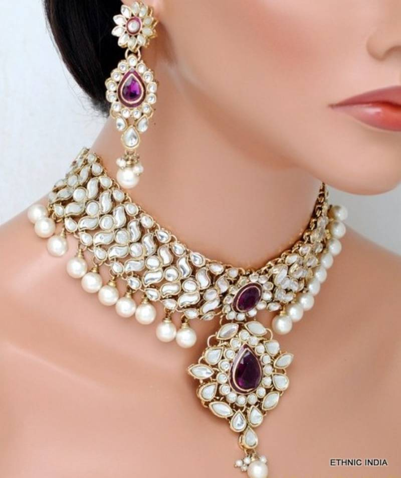 Buy Purple White Kundan Pearl Choker Gold Necklace Earring