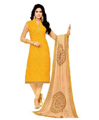 Yellow Embroidered Art Silk Unstitched Salwar With Dupatta