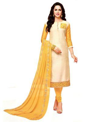 Off White Embroidered Art Silk Unstitched Salwar With Dupatta