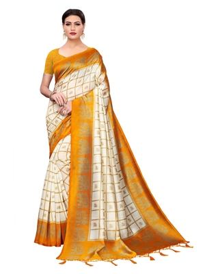 White Printed Art Silk Sarees with Unstitched Blouse
