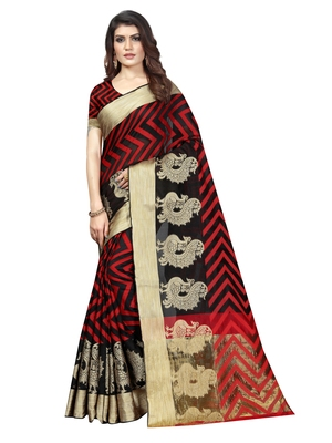 Black Woven Banarasi Sarees With Unstitched Blouse