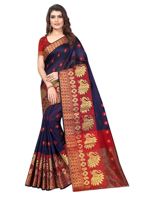 Navy Blue Woven Banarasi Sarees with Unstitched Blouse