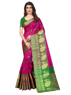 Pink Woven Banarasi Sarees with Unstitched Blouse