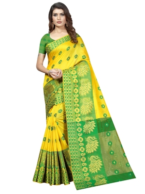 Yellow Woven Banarasi Sarees with Unstitched Blouse