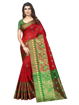 Red Woven Banarasi Sarees with Unstitched Blouse