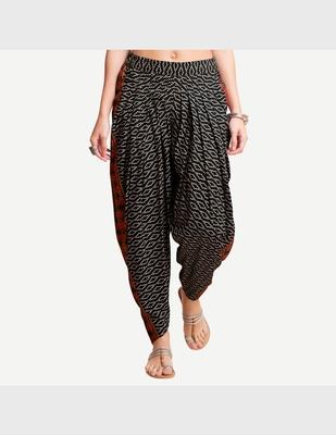 Black Viscose Printed Dhoti Pants For Women's