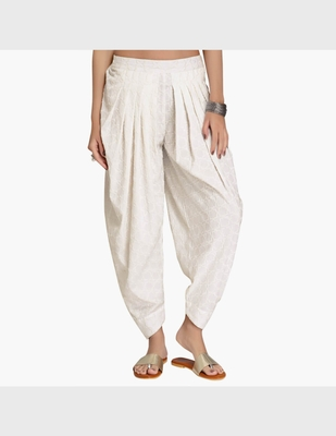 Off White Rayon Embroidered Dhoti Basic For Women's