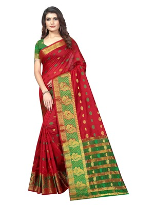 Maroon Woven Banarasi Sarees with Unstitched Blouse