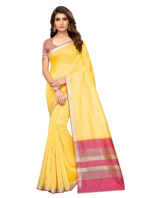 Yellow Woven Maheshwari Sarees With Unstitched Blouse