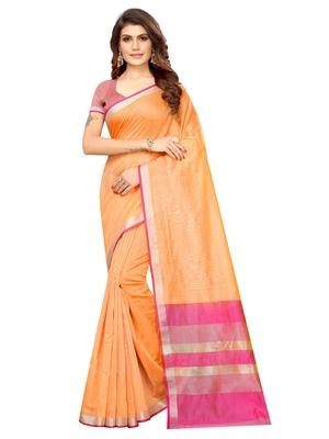 Orange Woven Maheshwari Sarees with Unstitched Blouse