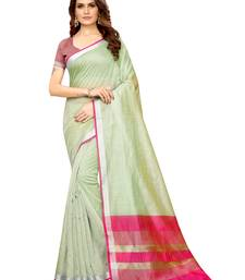 Green Woven Maheshwari Sarees with Unstitched Blouse