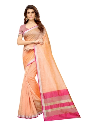 Peach Woven Maheshwari Sarees With Unstitched Blouse