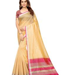 Beige Woven Maheshwari Sarees with Unstitched Blouse