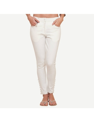 Ivory Cotton Slim Fit Embroidered Cigarette Trousers For Women's