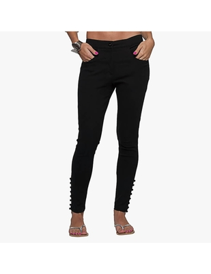 Black Cotton Slim Fit Embroidered Cigarette Trousers For Women's