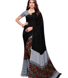 Black Printed Georgette Sarees with Unstitched Blouse