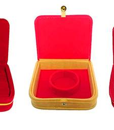 atorakushon® Mini Bangle Bracelet Box Travel Gift Box Jewelry Case Wedding Gift, Vanity Box pack of 3 (Beige, Red)