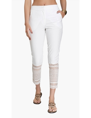 Off White Cotton Slim Fit Embroidered Cigarette Trousers For Women's
