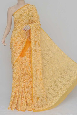 Orange Color Allover Hand Embroidered Lucknowi Chikankari Saree