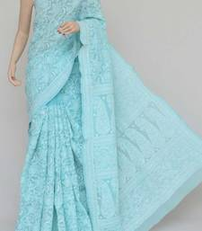 Skyblue Color Hand Embroidered Cotton Allover Lucknowi Chikankari Saree