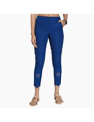 Blue Cotton Slim Fit Embroidered Cigarette Trousers For Women's