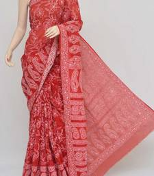 Red Color Hand Embroidered Lucknowi Chikankari Saree