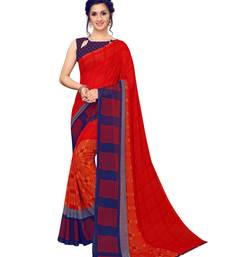 Red Printed Georgette Sarees with Unstitched Blouse