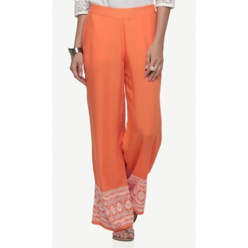 Rayon Orange Rayon Fabric Loose Fit Embroidered Palazzos For Women's