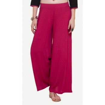 Rayon Pink Rayon Fabric Loose Fit Solid Palazzos For Women's