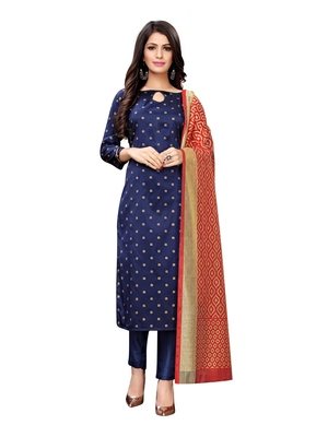 Navy Blue Banarasi Silk Jacquard Unstitched salwar with dupatta