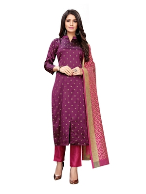Purple Banarasi Silk Jacquard Unstitched salwar with dupatta