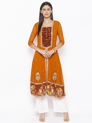 Mustard Embroidered Georgette Party Wear Kurtis