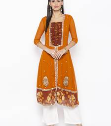 Mustard embroidered georgette party-wear-kurtis